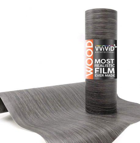 Architectural Vintage Dark Grey Wood Contact Film